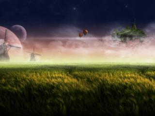 обои Пшеничное поле и призрачное небо фото