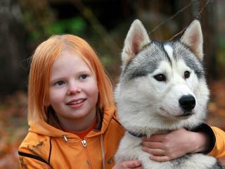 обои Девочка с  хаски фото