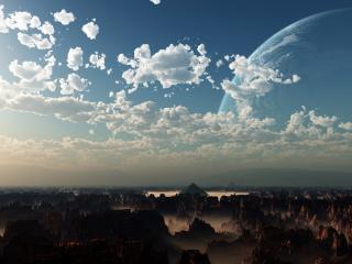 обои Небо и планеты над городом в горах фото