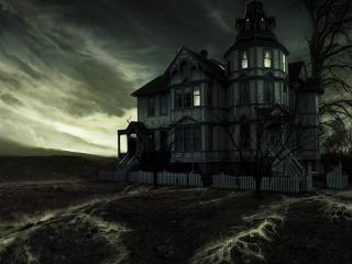 обои Дом на пустыре под мрачным небом фото