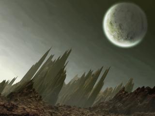 обои Луна над обломками земли фото