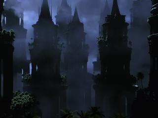 обои Черные башни в тумане фото