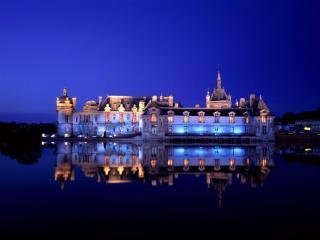 обои Замок Шантильи. Ночь. Франция фото