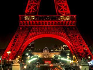 обои Эйфелева башня ночью. Париж. Франция фото