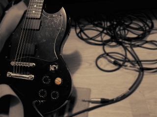 обои Темная электро-гитара фото