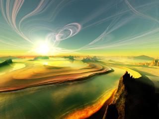 обои Солнце пустынной земли фото