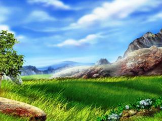 обои Лужайка в горах фото