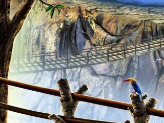 обои Навесной мост в горах фото