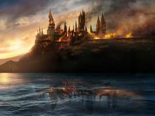 обои Замок в огне фото