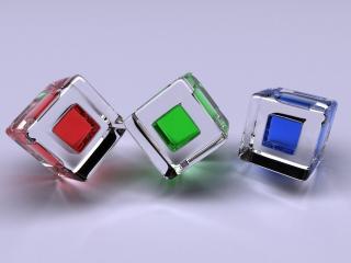 обои Три разноцветных куба фото