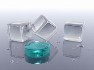 обои Три стеклянных куба и бирюзовая шкатулка фото