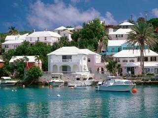 обои Белые дома на побережье тропического города,   яхты у берега фото
