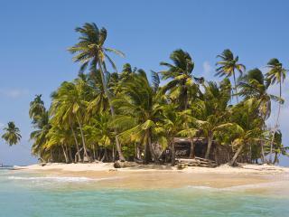 обои Самодельный дом на островке,   в тропиках фото