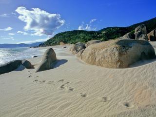 обои Следы на песочном берегу у камней,   в тропиках фото