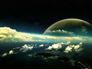 обои Город расположенный на островах,   облака,   планета фото