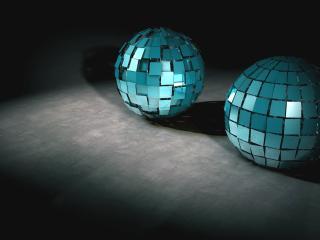 обои Два голубых диско-шара на полу фото