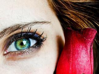 обои Макияж глаза - Синие тени и накрашенные ресницы фото