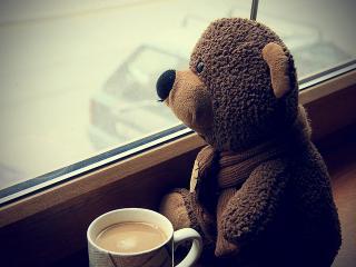 обои Медвежонок и кружка какао фото