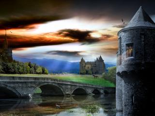 обои Пейзаж с мостом и средневековыми строениями фото