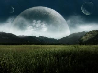 обои Несколько планет на небе над полем фото