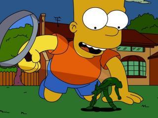 обои Барт Симпсон плавит солдатика фото