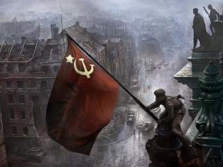 обои Воздвижение флага над рейхстагом фото