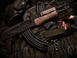 обои Автомат Ak-74,   камуфляж,   противогаз фото
