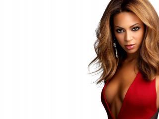 обои Известная Beyonce в красном открытом платье фото