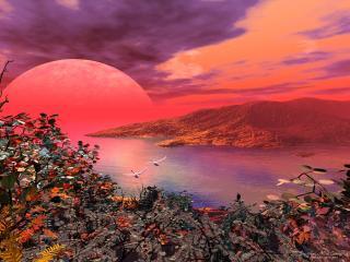 обои 3д закат на планете Земля фото