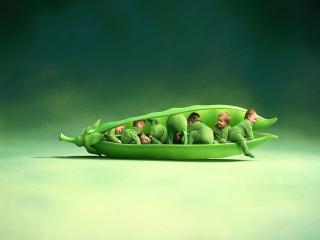 обои Дети в  стрючке зеленого горошка фото