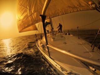 обои Палуба яхты в ночное время суток фото