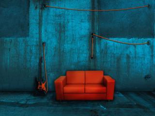 обои Красный диван и синяя стена фото