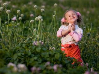обои Девочка на природе в цветах фото