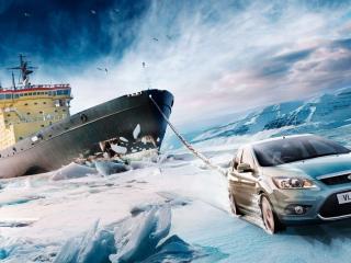 обои Форд буксирует ледокол фото