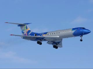 обои для рабочего стола: Разноцветный Ту-145 в небе