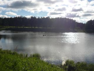 обои Рыбаки на пруду, летом фото