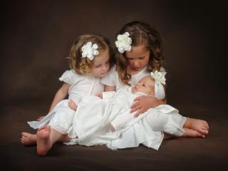 обои Три ангелочка в белом фото