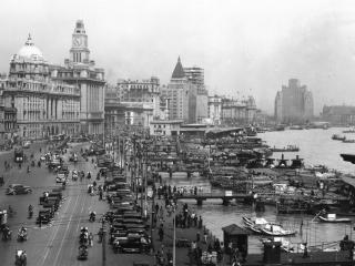 обои для рабочего стола: Шанхай 1930 годы черно-белое