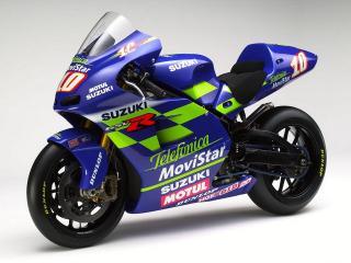 обои Мотоцикл Сузуки исписан рекламой фото