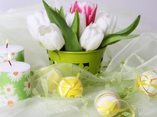 обои Пасхальные яйца,   свечи фото