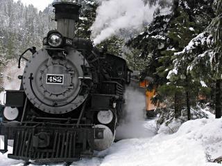 обои Паровоз сквозь снега фото