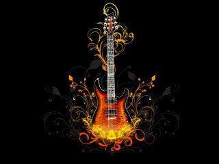 обои Гитара и узоры фото