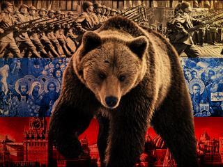 обои для рабочего стола: Российский флаг,   медведь