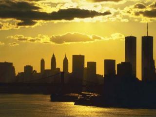 обои Бронзовый закат над городом фото