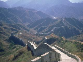 обои Великая китайская стена между горами фото