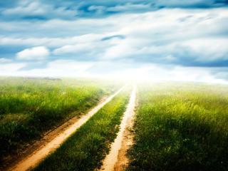 обои Грунтовая дорога уходит в небо фото