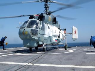 обои Вертолет ка 27  ,   вмф россии,   посадка на корабль, фото