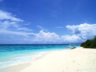 обои Белый песок у голубого моря фото