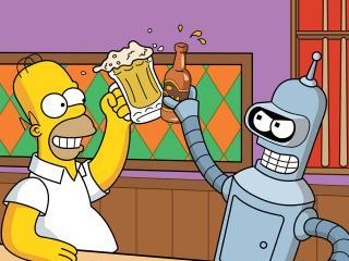 обои Гомер и Бэндер в пивбаре фото