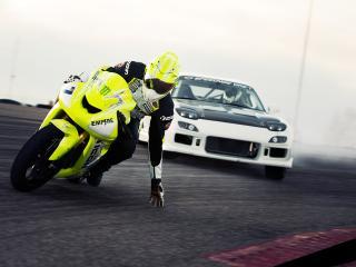 обои Дрифт машины и мотоцикла фото